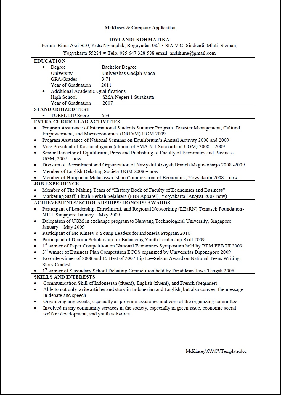 resume mckinsey cv example resume cv example leadership essay mckinsey sample essays